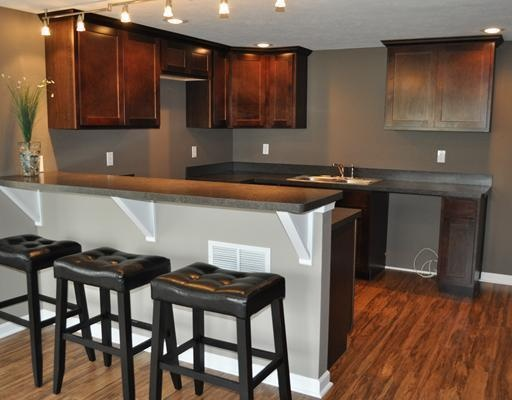 beautiful grey kitchen walls with wood cabinets 14