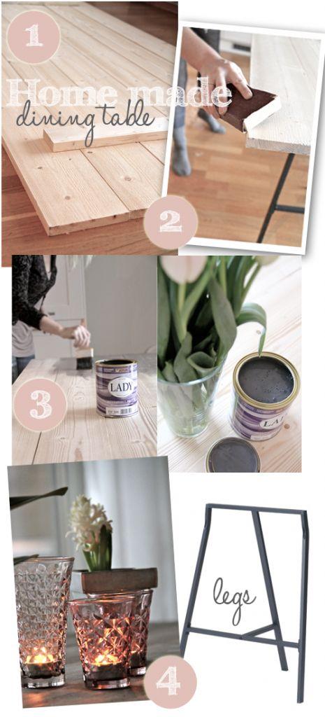 SPISEBORD. Ikea bord ben til 50 kr stk. Brædder og maling. Til min nye spise stue