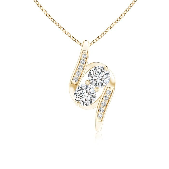Love this Jewelry Style from Angara! Double Diamond Bypass Pendant Necklace