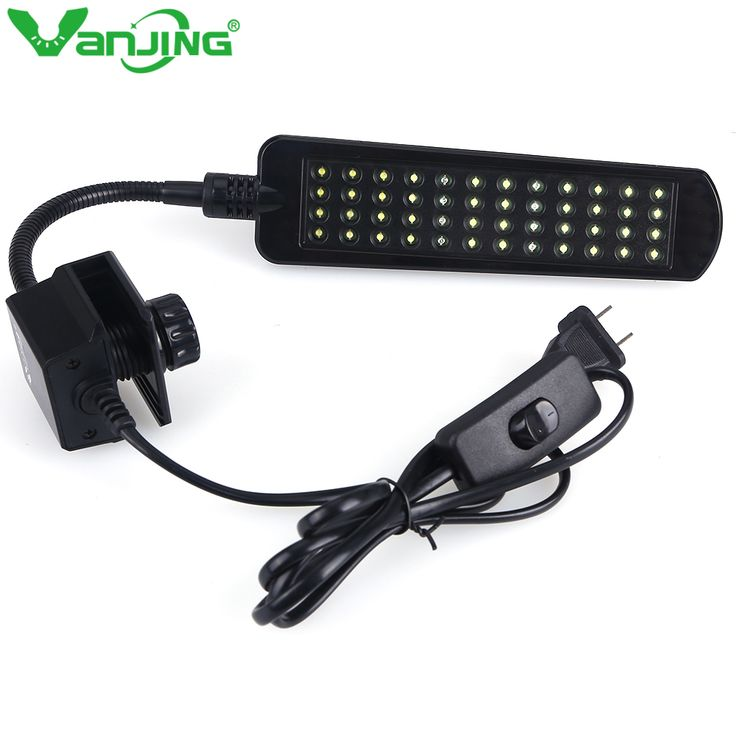 48 LEDs 220V Aquarium Clamp Clip Fishing Tank Lighting, White & Blue Color Water Plant Tropical Grow Bulb Lamp with EU adapter