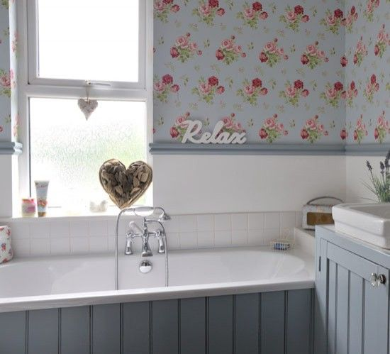 Wood panel wallpaper duck egg blue white bathroom colours ideas bathroom refit Bathroom designs wood paneling