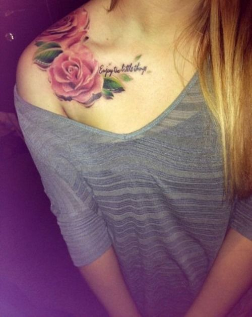 Beautiful Flowers Tattoo on Shoulder for Women