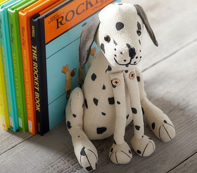 Dalmatian Bookend #PotteryBarnKids  TO MAKE....we have so many, many books :-)  Books from friends, books from family, gifted books, and books saved up for, bought at yard sales, resale shops, and some online....there must be a way to make insulated bookshelf walls for homes....hmm