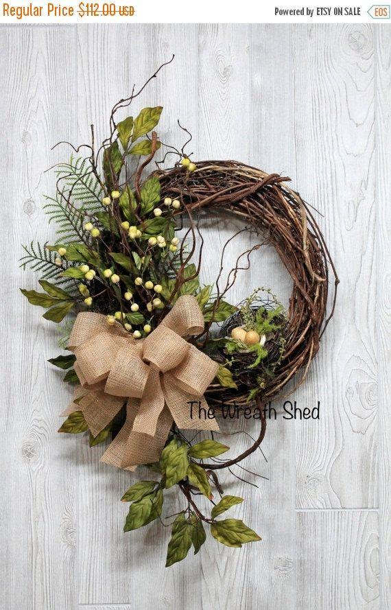 HUGE SALE Fall Wreath, Front Door Wreath, Fall, Greenery Wreath, Wreaths, Everyday Wreath, Handmade Wreath, Burlap Wreath, Door Wreath, FREE