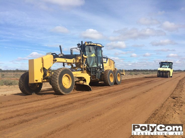 Stabilisation of an unsealed road with PolyCom Stabilising Aid in outback NSW. By blending PolyCom with the existing road materials, the council can improve the road pavement in a more cost-effective manner than importing new layers of quarry material. www.earthcoprojects.com.au