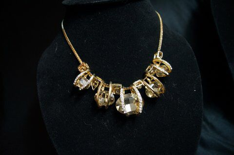 Big Diamond Gem Gold necklace