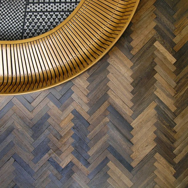 Arne Jacobsen floor and bench detail. However I would use this as a wall covering with similarly framed mirror | Tanya Vaughan Ltd