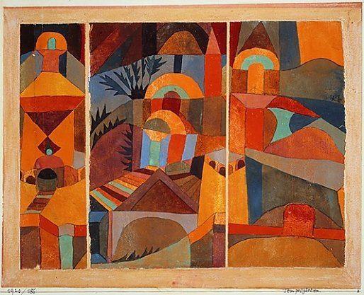 BA compositie/ drieluik in warme kleuren (werk van Paul Klee 1920)