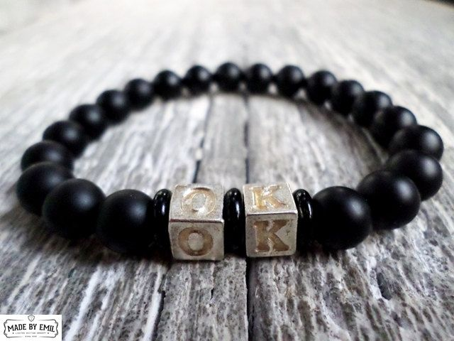 Mens bracelet mat onyx and silver plated beads gemstone natural beads stretch bracelets by EmilDesign on Etsy