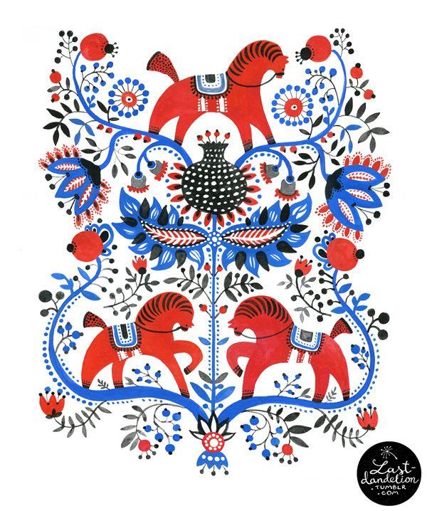 Red Horses (Stylised Gorodec pattern) by Elena Kravchenko