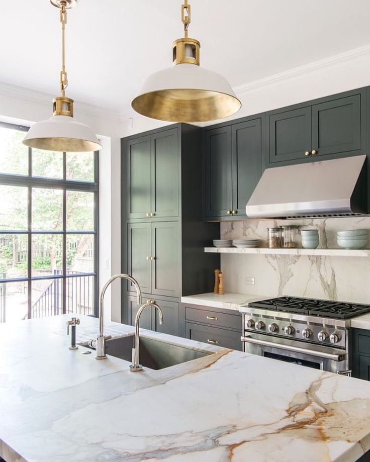 Charcoal cabinets and marble