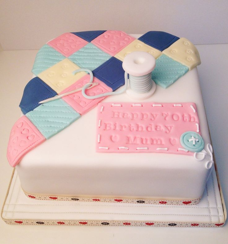 A patchwork and sewing cake by Flossie Pops Cakery www.flossiepopscakery.co.uk