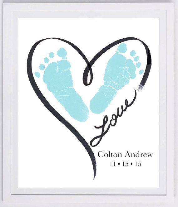 Heart Outline Footprint Wall Art 1200_pap von MyForeverPrints