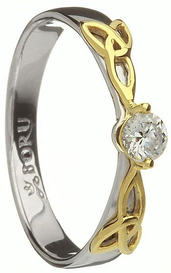 Two Tone Trinity Knot Engagement Ring with CZ Setting #valentinesgifts #irishjewelry $171.00