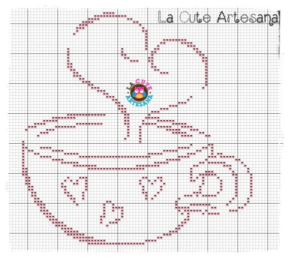 La Cute Artesana: Regalitos poblanos taza de café gráfico punto de cruz