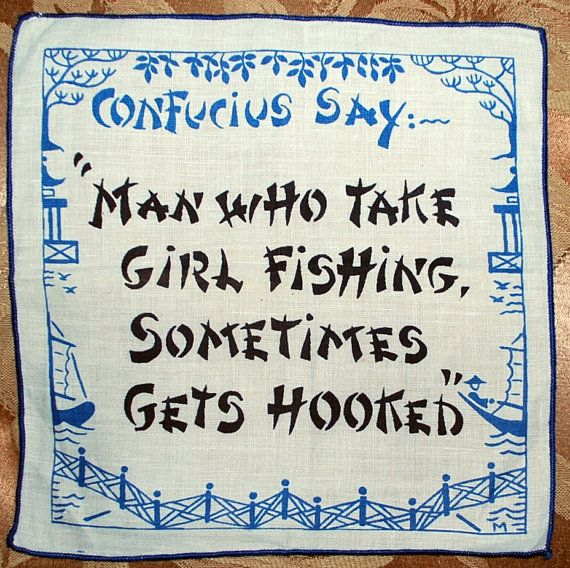 """1960s cocktail napkin featuring whimsical """"Confucius Says"""" sayings $13"""