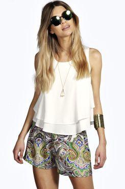 Tasha Paisley Print Woven Shorts at boohoo.com