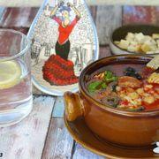 Рыбный суп с нутом и чоризо «Испанские мотивы»