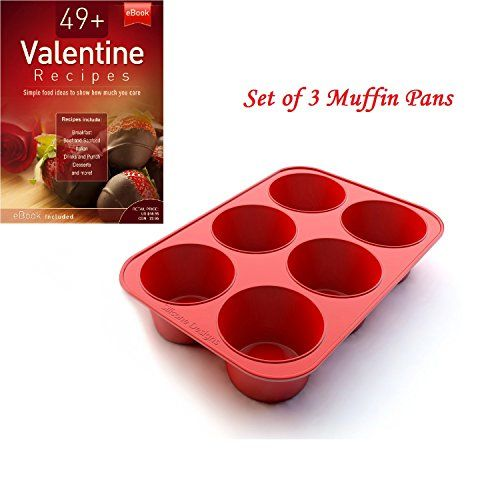 Silicone Texas Muffin Pans and Valentine Cupcake Maker 6 Cup Large Set of 3 Commercial Use Plus Muffins Recipe Ebook