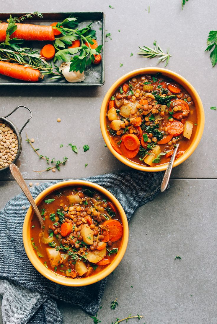 Everyday recipe for lentil soup made in 1 pot with potatoes, carrots, kale, and simple herbs and seasonings. The perfect plant-based main or side.