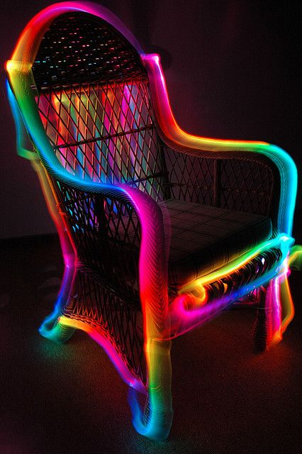 Neon glowing party chair...funky! I could paint my planter boxes by the front door with glow in the dark paint! Too cool for words,