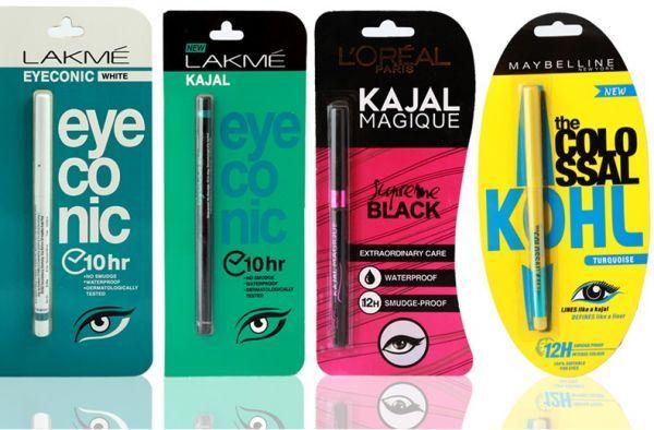 (Pack of 4) Maybelline Colossal Kajal Turquoise , LOREAL Kajal MaGIQUE Black , LAKME EYECONIC KAJAL Black & LAKME EYECONIC WHITE