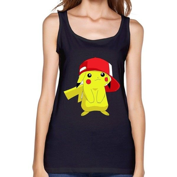 Womind Women's Pokemon Pikachu White Background Tank Top Black ($22) ❤ liked on Polyvore featuring tops, shirts, pokemon, tank tops, white top, white tank top, white tank, shirt tops and white singlet