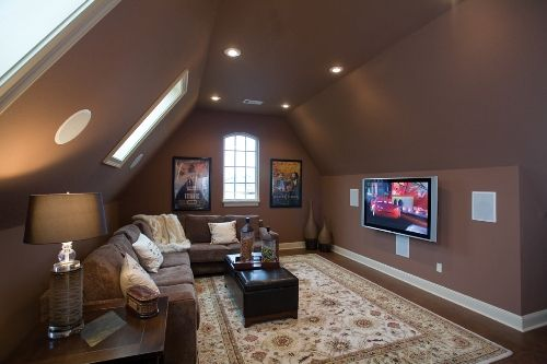 """I don't think the girls would like the all brown effect but I like it. I wouldn't have thought of putting the TV on that side wall but that may work too if we build in one of those drawers for all the electronc """"stuff"""""""