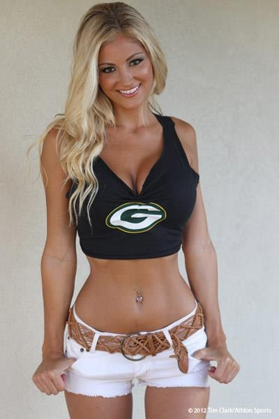 Sexy woman wearing Green Bay Packers top. More NFL Calendars at http ...