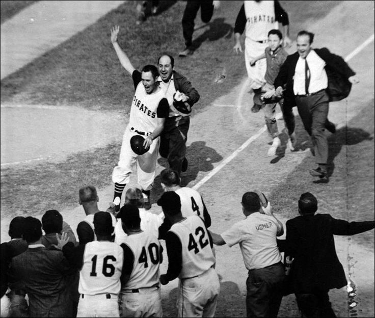 Bill Mazeroski's Game 7 Walk-Off World Series Home Run - Game 7 of the 1960 World Series. Pirates vs. Yankees. Bottom of the 9th inning. Game tied 9-9. Light-hitting second baseman Bill Mazeroski comes to bat and hits a walk-off home run to win the World Series and give the Pirates their first title in 35 years.