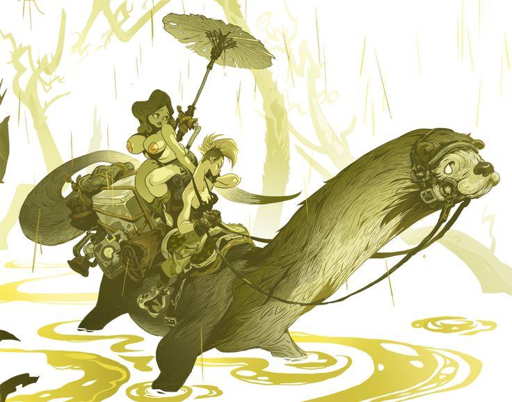 Otter Rider. Kang MinJung. Kang Goon. Character Design. illustration. Korean artist. facebook.com/naphe4 tumblr.com/blog/kangminjungart behance.net/kangminjung