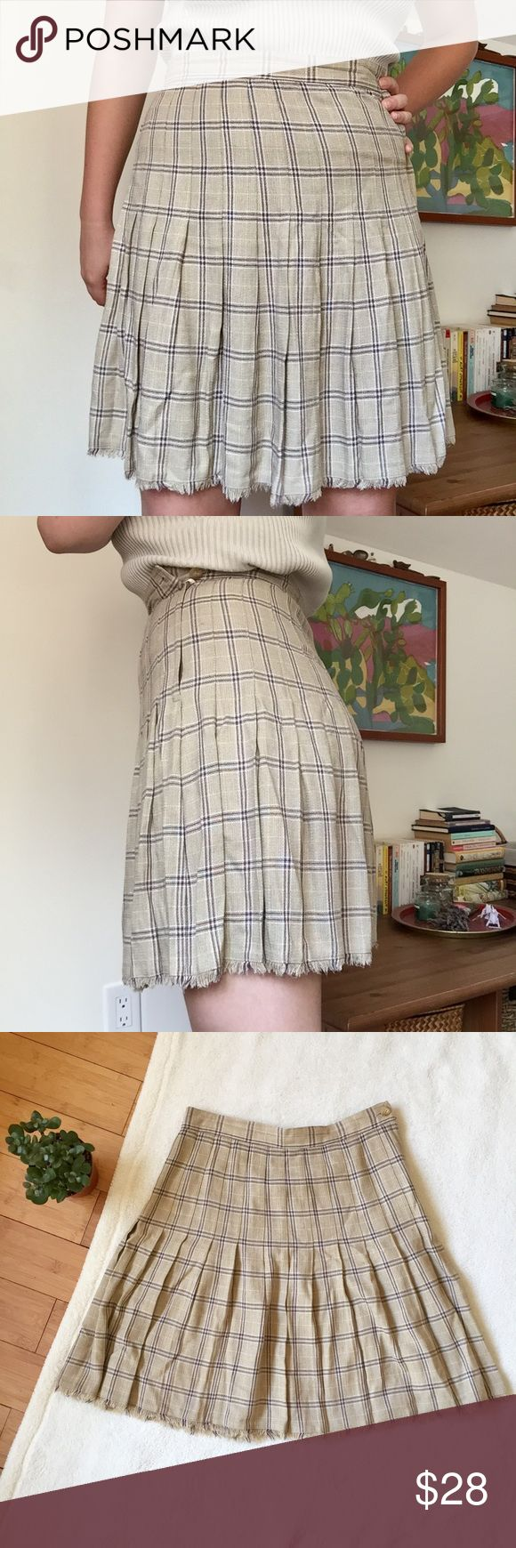 "✨Sale✨ Vintage Plaid Schoolgirl Tennis Skirt Late 80s/early 90s beige checkered pleated skirt by Liz Claiborne. Union-made in the USA of 100% rayon. The frayed hem is my fave! Gives so much texture and interest to this neutral piece, but the hem is actually finished so the skirt won't unravel. Beautiful quality, perfect condition. Tagged a size 8 but runs a bit small, best fit for a 27-28"" waist. Measures 13.75"" across waist, 19.5"" long. Vintage Skirts Mini"