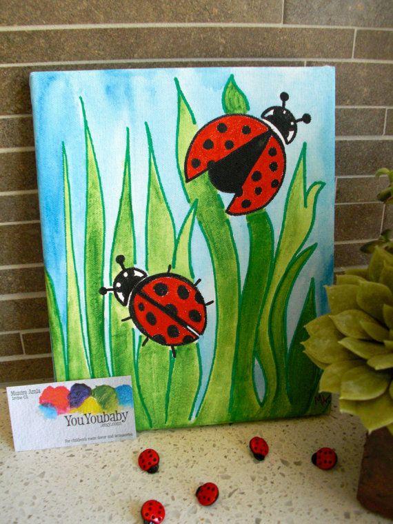 Grass type idea.. 8 x 10 Original Acrylic painting. Ladybugs. by YouYouBaby on Etsy, $45.00