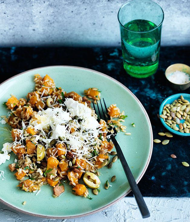Cheese and bacon meet brown rice and pumpkin for a textural side dish that makes a perfect partner for roast lamb or chicken.