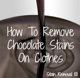 A chocolate stain can be one of the toughest ones to remove, because it is what is called a combination stain.   There are many ingredients within the