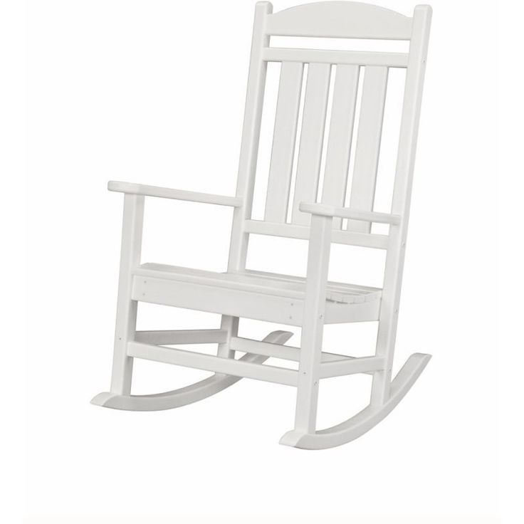 Hanover HVR100 Pineapple Cay 43-1/2 Inch Tall Polywood Outdoor Rocking Chair White Furniture Outdoor Furniture Outdoor Chairs