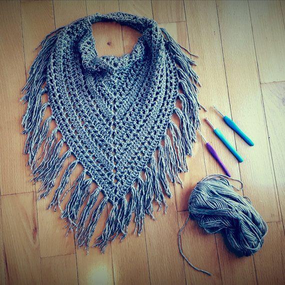 Bonito livre crochet triângulo lenço padrão cachecol padrão, franjas cachecol, bandana, capuz, leve, crochê cachecol, tricotar cachecol AQVWBXW