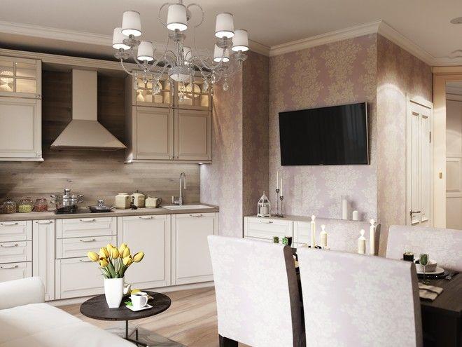 """Кухня-гостиная. Квартира, современная классика, ЖК """"Самоцветы"""", 41 кв.м."""