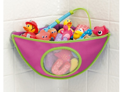 Corner Bath Organizer by Munchkin    A cool, modern corner bath organizer made of mildew resistant neoprene that keeps all your bath toys dry and organized - it makes you and bath time calm, collected and cool!