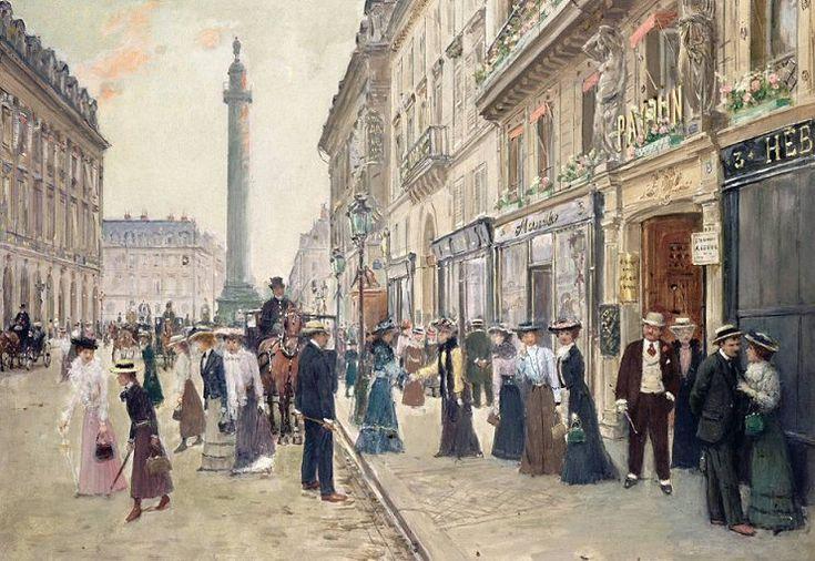 """rue de la Paix - Paris 2ème / """"Sortie des ouvrières de la maison Paquin, rue de la Paix"""" par Jean Béraud, 1906"""