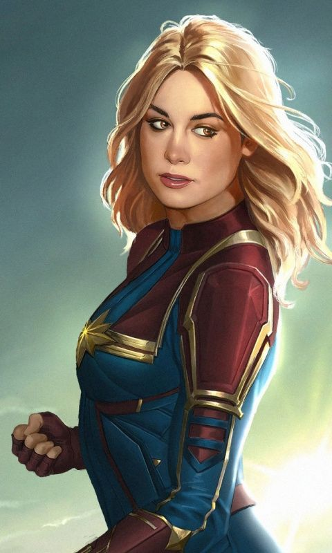 Captain Marvel, fan art, blonde, 480×800 wallpaper – Marina Allington