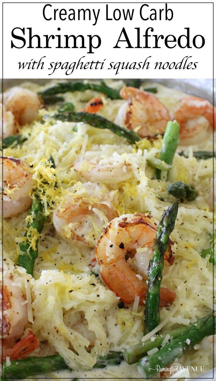 Keto Shrimp Alfredo With Spaghetti Squash Noodles And Asparagus Asparagus Recipe Spaghetti