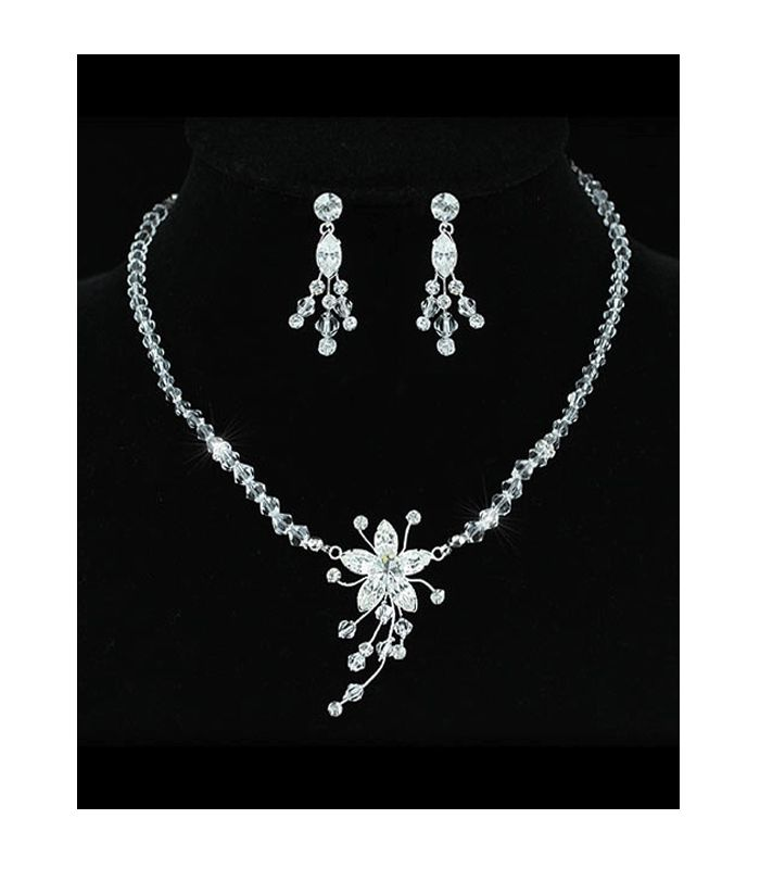 Lily - Handmade Swarovski Crystal Flower Necklace and Earring Set - http://lily316.com.au/shop/bridal/lily-handmade-swarovski-crystal-bridal-set/