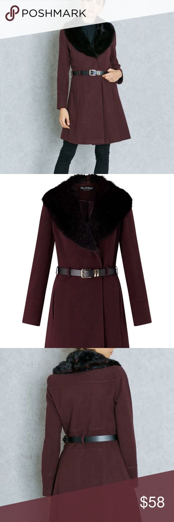 NWOT Miss Selfridge coat New without tags; Gorgeous deep eggplant polyester/viscose/spandex coat with faux fur collar and belt with goldtone buckle; lined; front on-seam pockets; refer to pics for fit; Smoke-free/pet-free home. Miss Selfridge Jackets & Coats