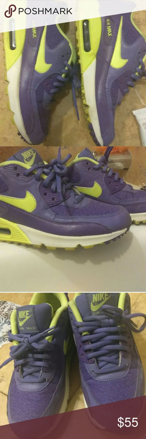 Rare purple and green Nike Air Max tennis shoes These Nike shoes have never made exercising look so good 😍😍. They are  purple with green trim which make them very rare and near impossible to find anymore! Trust me I have looked for the same shoe but in a bigger size and I haven't had any luck  😔 . As you can see from the pics , they are in great condition and show no real signs of wear (only worn once). Nike Shoes Athletic Shoes