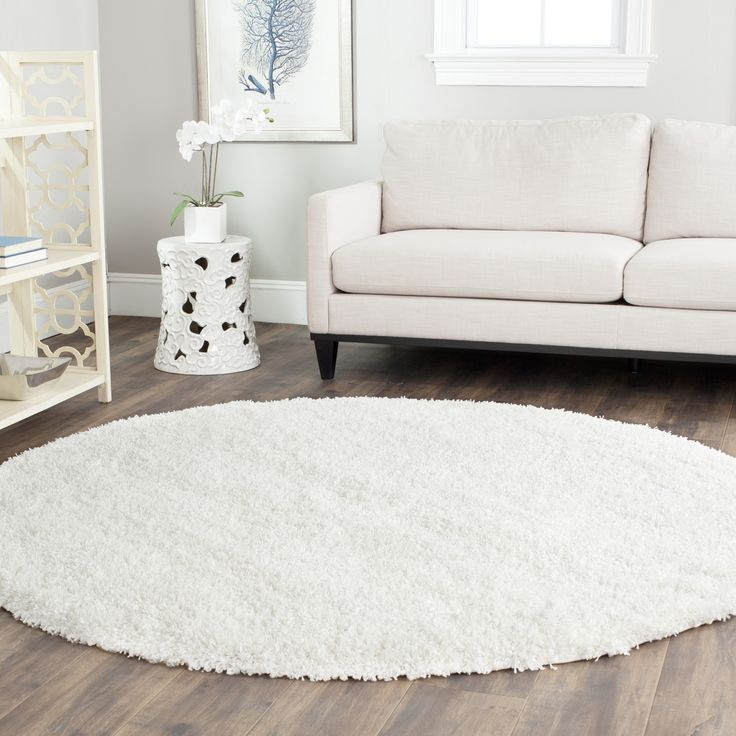 bedroom item shag luxury decorative shaggy rug slip white long fur round non faux circle mat hair shower