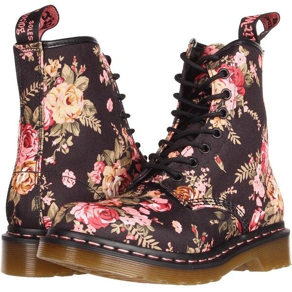 Dr. Martens 1460 W (Black Victorian Flowers) Women's Lace-up Boots (£53) ❤ liked on Polyvore featuring shoes, boots, multi, victorian lace up boots, black patent leather shoes, patent leather lace up boots, black laced shoes and black boots