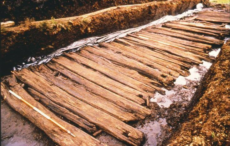 An Iron Age roadway at Corlea, Co. Longford. Made from oak planks, it traversed a section of bog and dates from c. 148 BC.