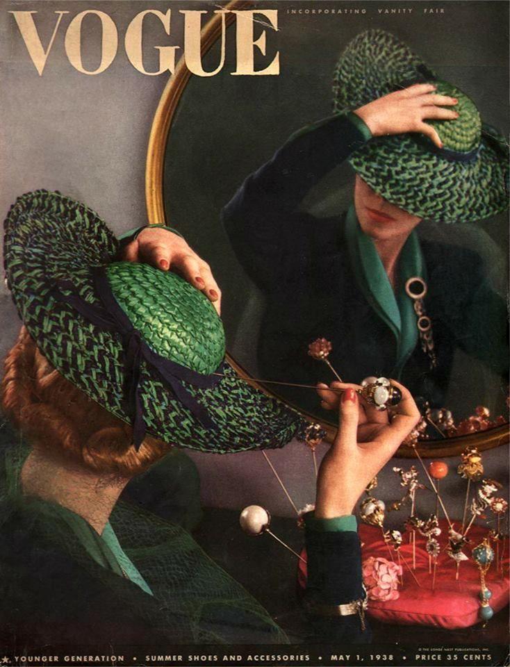 """1938 my vintage vogue's. No es lo que pretende pero esta imagen me transmite inquietud. Parece que la mujer es capaz de perforarse la cabeza con tal de que el sombrero no se mueva y estar """"a la moda"""""""