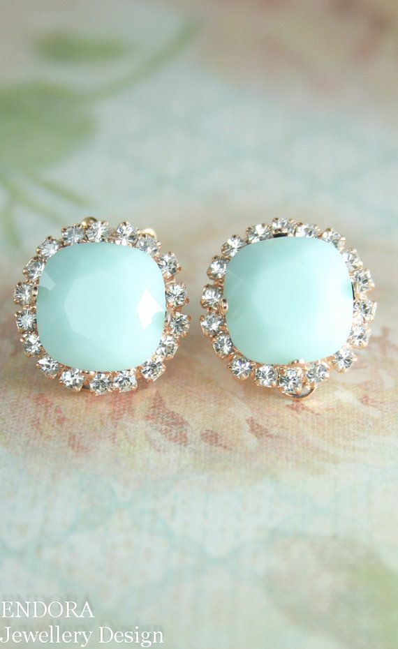 opaque mint green crystal clip on earrings | clipon earrings | mint green wedding | www.endorajewellery.etsy.com